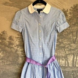 Ralph Lauren Cotton Light Blue White Gingham Dress